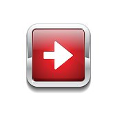 Right Key Rounded Rectangular Vector Red Web Icon Button