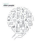 Rights of older people. Modern thin line design including symbols of help, safety, support of elderly. Vector illustration on white background.