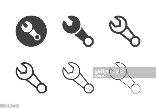 ring and open end wrench icons - multi series - spare part stock illustrations