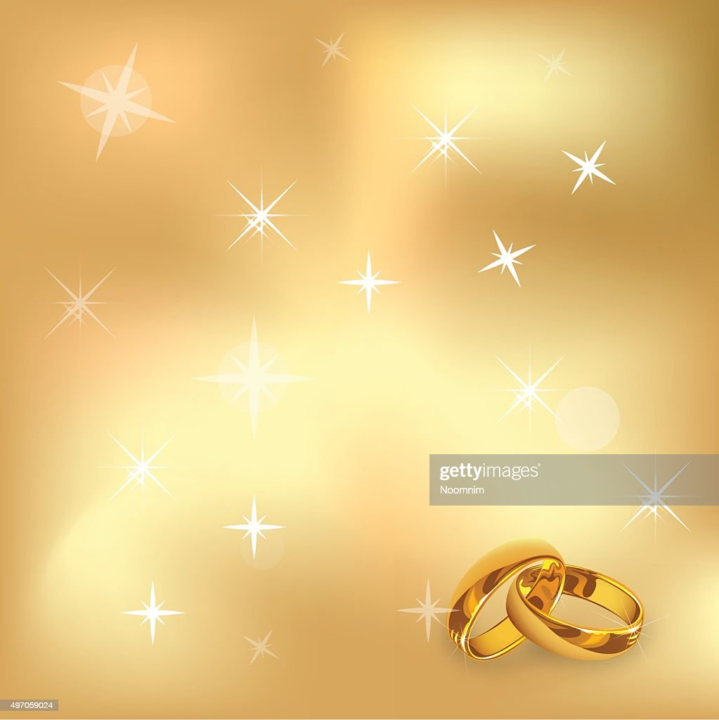Ring And Valentin`s Day gold background Vector Illustration