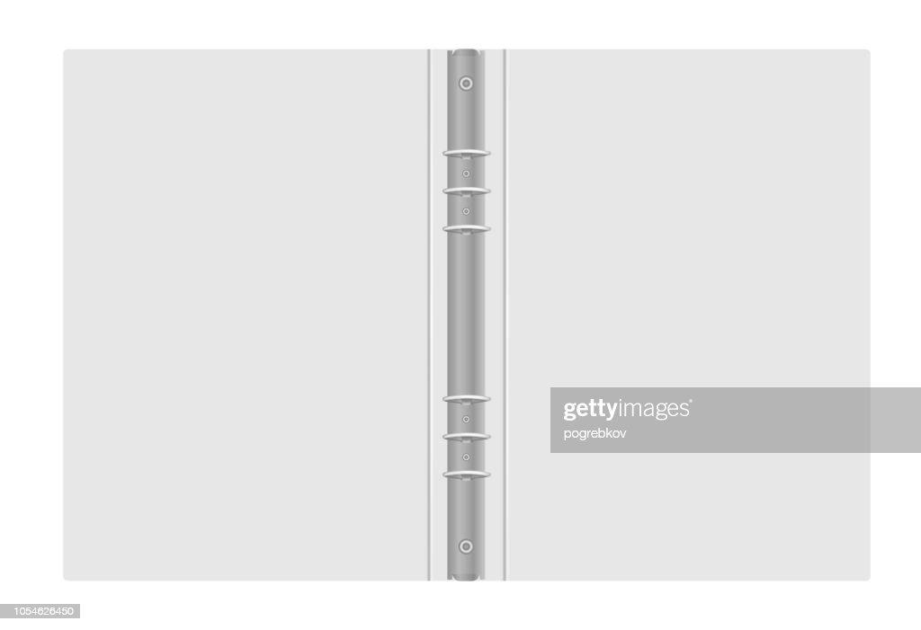 Ring binder - open gray folder with metal rings, vector mockup