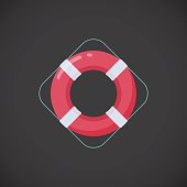 Ring buoy vector flat icon