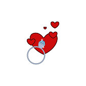 Ring, diamond, love, heart, valentine's day icon. Element of color Valentine's Day. Premium quality graphic design icon. Signs and symbols collection icon for websites, web design