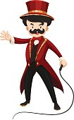 Ring master  red texido with a whip