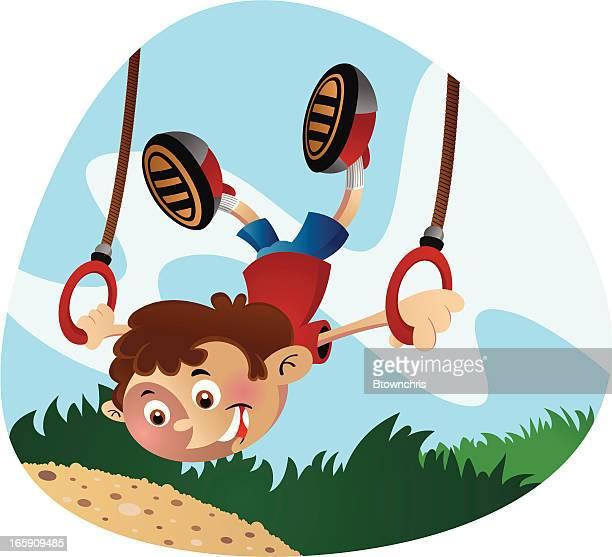 ring swing - gymnastics stock illustrations
