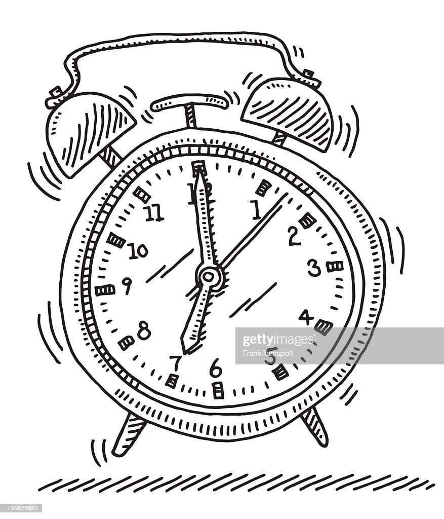ringing alarm clock drawing vector art getty images Alarm Clock Art