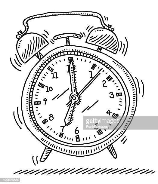 ilustrações de stock, clip art, desenhos animados e ícones de soar o alarme relógio desenho - acordar