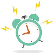 Ringing alarm clock in a flat style with a shadow on a white background
