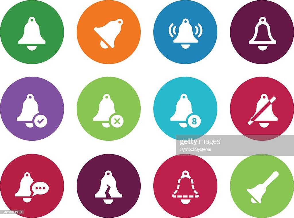 Ringing circle icons on white background.