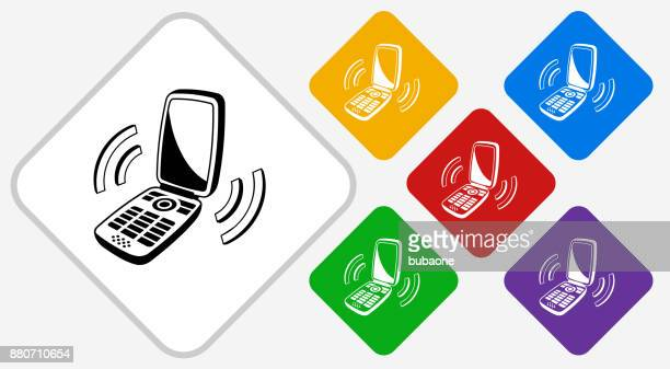 Ringing Phone Color Diamond Vector Icon