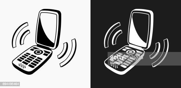 Ringing Phone Icon on Black and White Vector Backgrounds