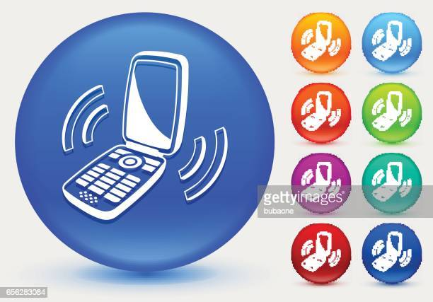 Ringing Phone Icon on Shiny Color Circle Buttons