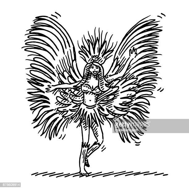 rio carnival dancer drawing - samba stock illustrations