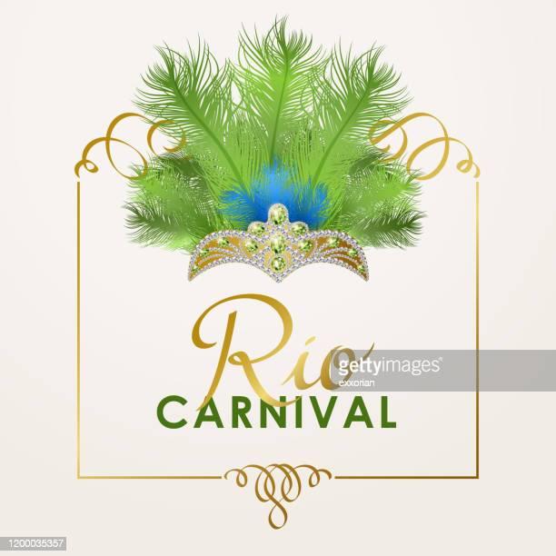 rio karneval kopfschmuck - samba stock-grafiken, -clipart, -cartoons und -symbole