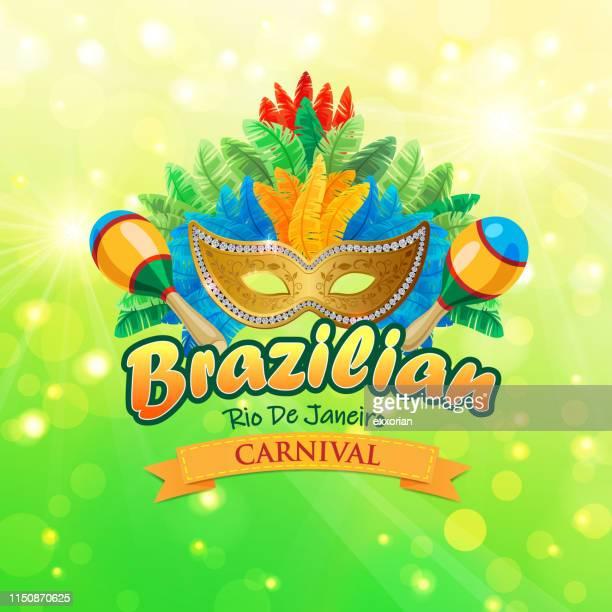 rio de janeiro brazilian carnival symbol - maracas stock illustrations