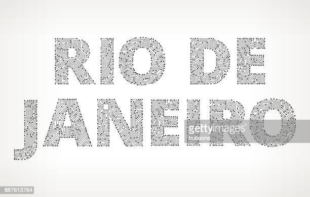 Rio De Janeiro Circuit Board Vector Buttons