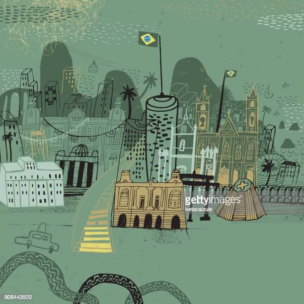 ilustrações, clipart, desenhos animados e ícones de rio de janeiro, brasil - destino turístico