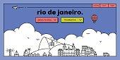 Rio de Janeiro Modern Web Banner Design with Linear Skyline