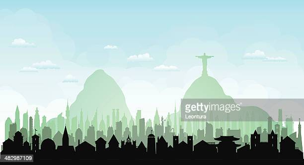 rio de janeiro (each building is complete and moveable) - jesus stock illustrations, clip art, cartoons, & icons
