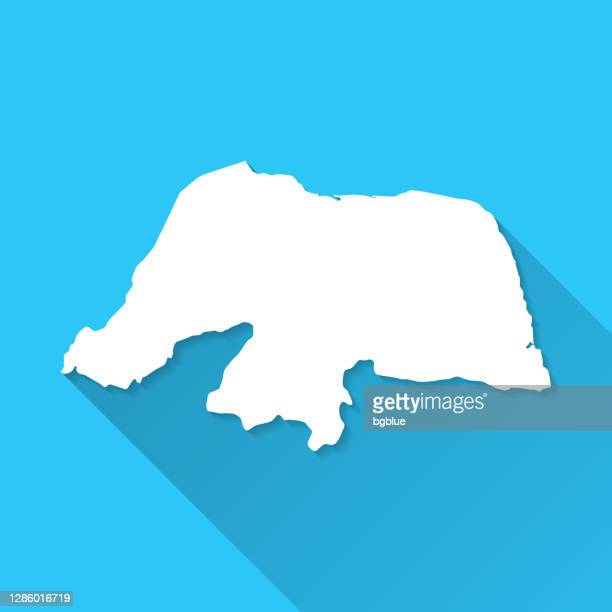 rio grande do norte map with long shadow on blue background - flat design - natal brazil stock illustrations