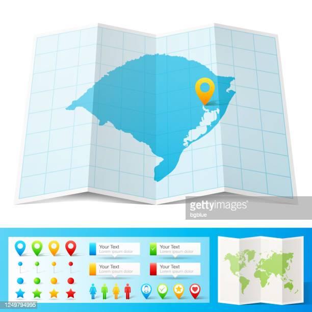 白い背景に分離された位置ピンを持つリオグランデドスルマップ - リオグランデドスル州点のイラスト素材/クリップアート素材/マンガ素材/アイコン素材