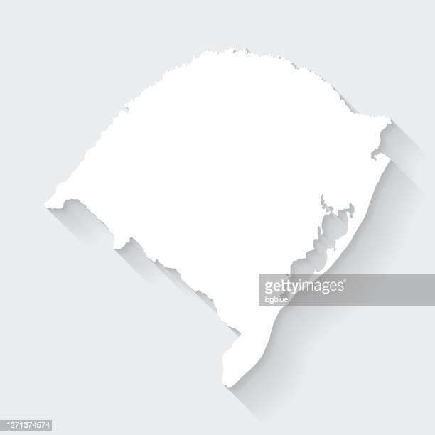 空白の背景に長い影を持つリオグランデドスルマップ - フラットデザイン - リオグランデドスル州点のイラスト素材/クリップアート素材/マンガ素材/アイコン素材