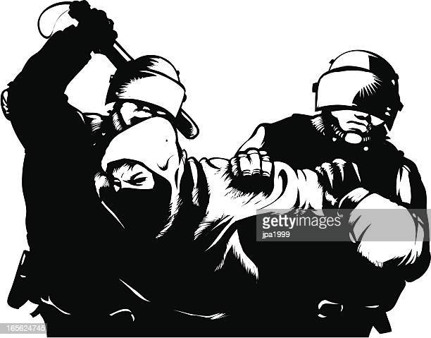 ilustrações, clipart, desenhos animados e ícones de riot! - manifestante