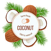 Ripe coconuts and palm leaves around circle badge with text farm fresh 100 percent natural