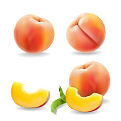 Ripe peach fruit with leaf isolated Realistic vector illustration.