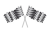 Rippled black and white crossed Checkered Flag