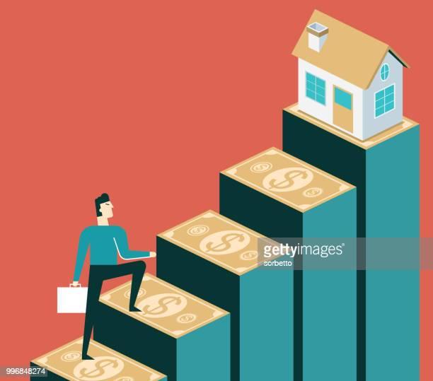 ilustraciones, imágenes clip art, dibujos animados e iconos de stock de subida de precios de la vivienda - empresario - propietario de casa