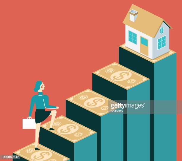 rise in house prices - businesswoman - mortgage loan stock illustrations