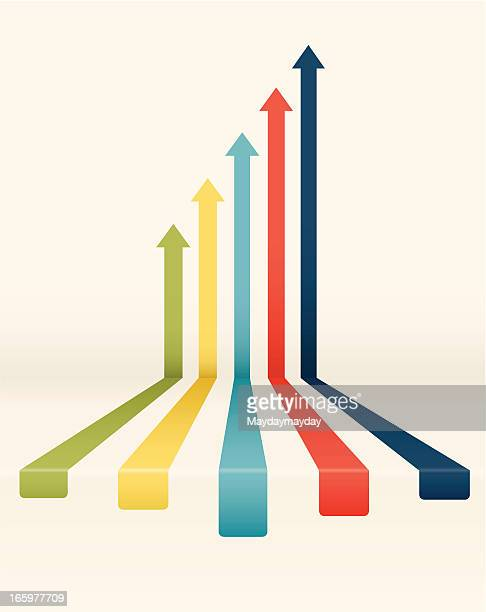 rising colored arrows chart - high up stock illustrations, clip art, cartoons, & icons