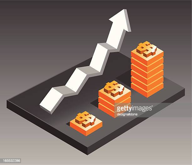 rising economy: dollars - steep stock illustrations, clip art, cartoons, & icons