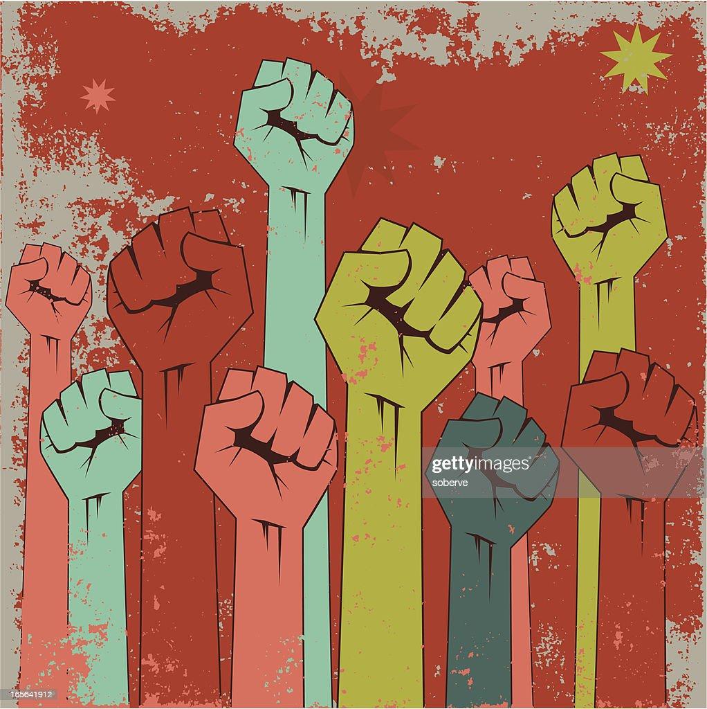 Rising fists : stock illustration