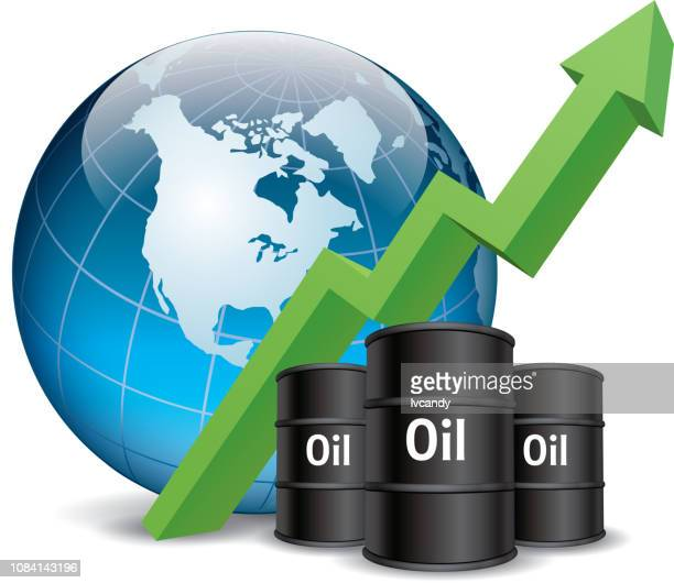 rising oil prices - drum container stock illustrations