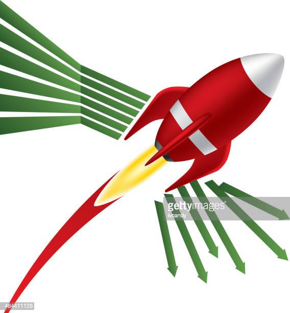 Rising rocket destroyed the down arrow