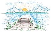 Rising sun on the lake landscape illustration