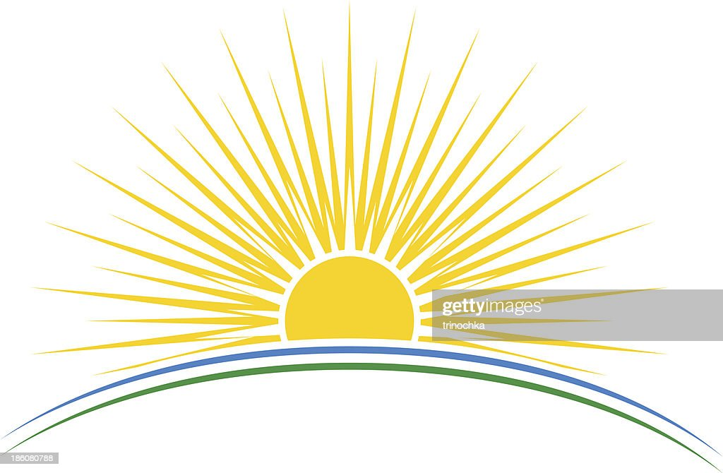 Rising sun over planet arc vector illustration