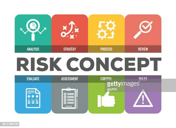 risk concept colorful icons set - graphic car accidents stock illustrations