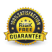100% risk free golden satisfaction guarantee on white background.