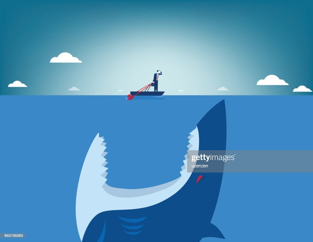 Risk. Shark attacking businessman. Concept business illustration. Vector flat
