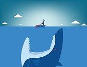 Risk. Shark attacking businessman. Concept business illustration. Vector flat