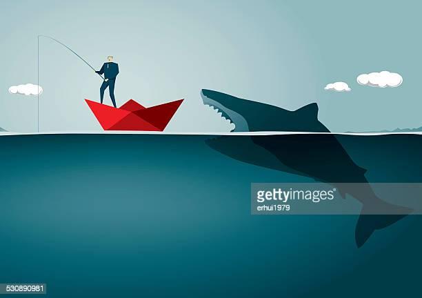 illustrations, cliparts, dessins animés et icônes de risque - requin