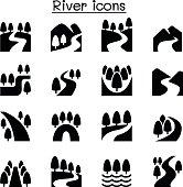 River, Lake , canal nature icons set