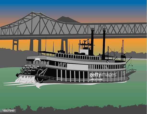 riverboat on the mississippi - new orleans stock illustrations, clip art, cartoons, & icons