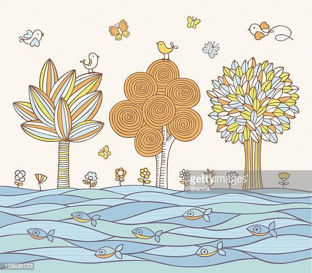 ilustraciones, imágenes clip art, dibujos animados e iconos de stock de river's bank - grupo grande de animales