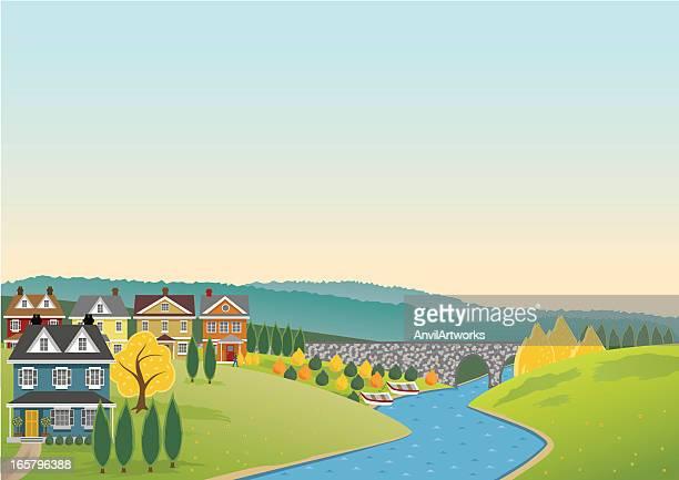 riverside banner - town stock illustrations