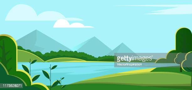 riverside scenery - water's edge stock illustrations