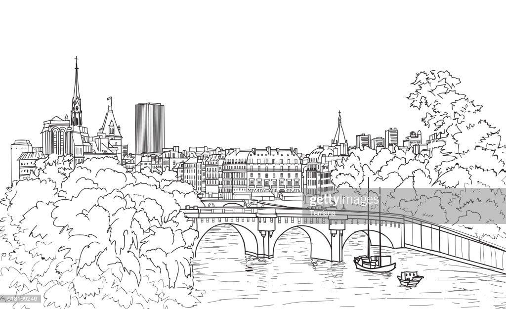 Riverside street view in old city. Paris cityscape view: river, bridge